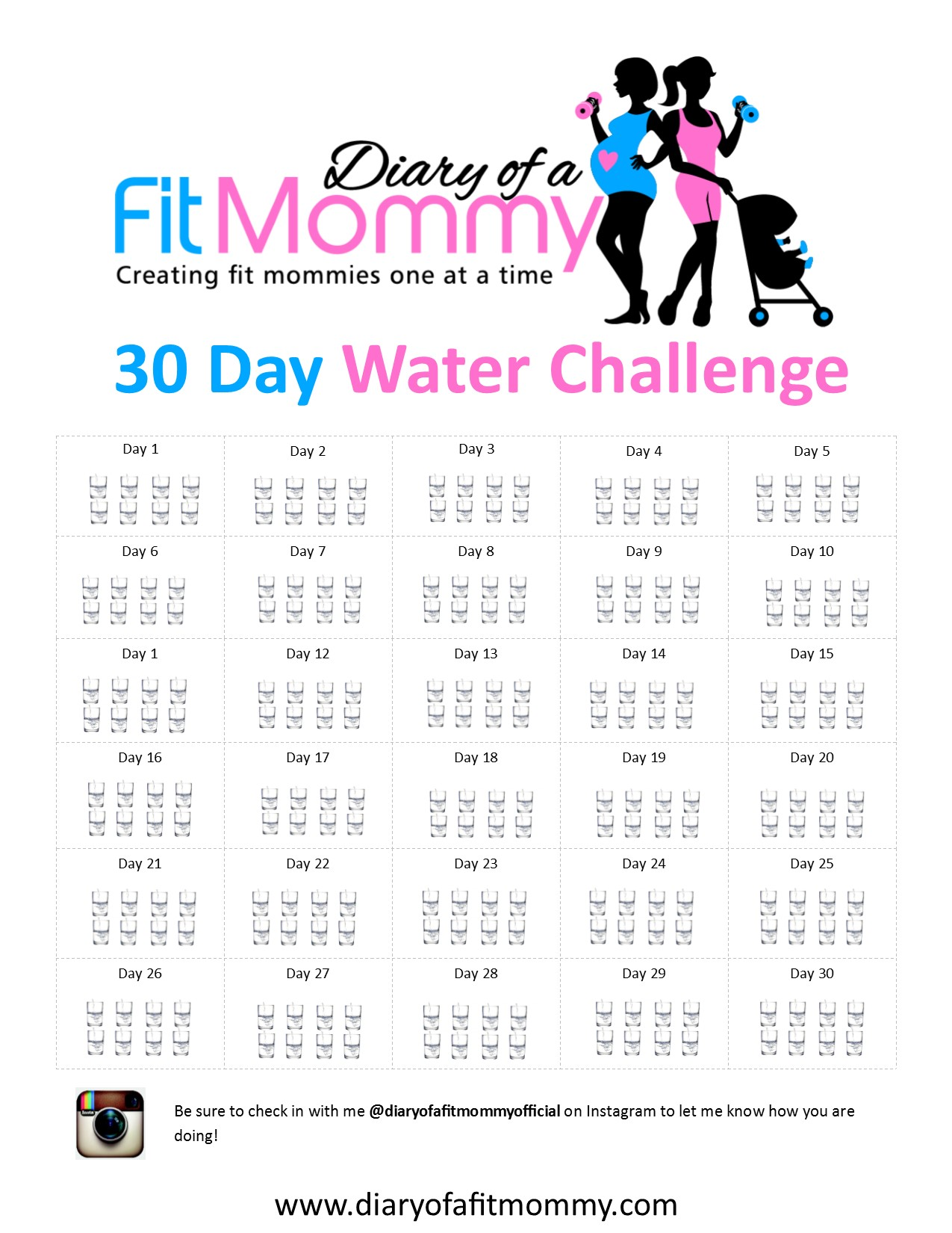 Diary Of A Fit Mommy30 Day Water Challenge Diary Of A