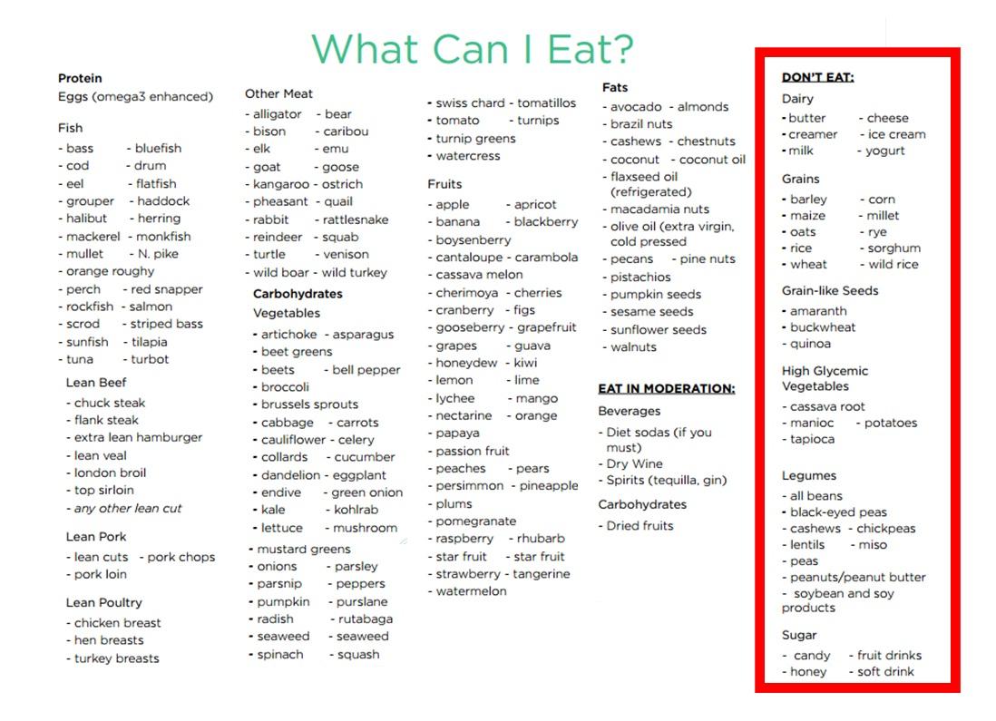 abs diet food list pdf