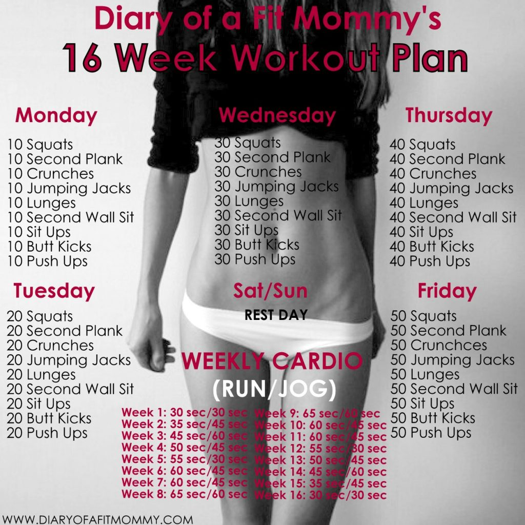 16 Week No Gym Home Workout Plan | Diary of a Fit Mommy ...