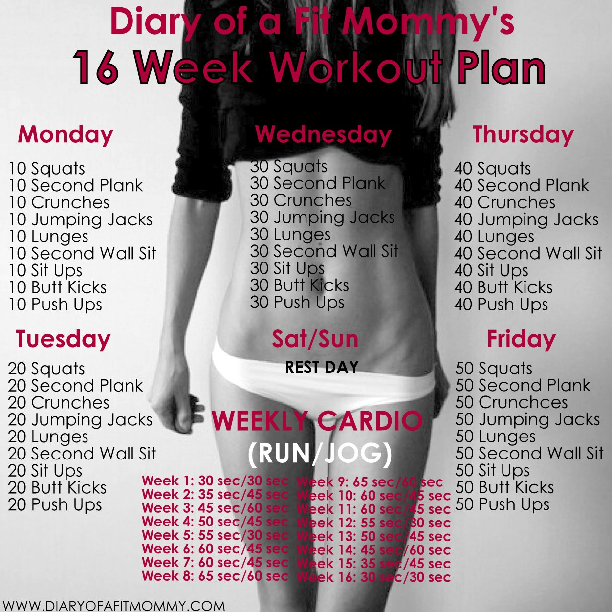 Diary of a fit mommy16 week no gym home workout plan for 1 2 3 4 all the ladies on the floor